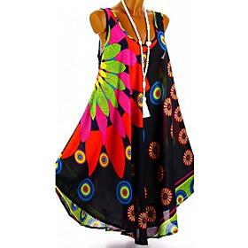 Women's Chiffon Dress Short Mini Dress - Sleeveless Floral Print Summer Deep U Casual Holiday Vacation Loose 2020 White Black Blue Purple Red S M L XL XXL XXXL