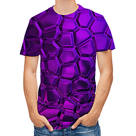 Men's Geometric Graphic Print T-shirt Daily Round Neck Purple / Short Sleeve