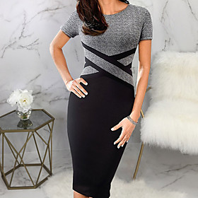 Women's Bodycon Dress - Short Sleeves Striped Color Block Patchwork Casual Street chic Daily Going out White Gray S M L XL