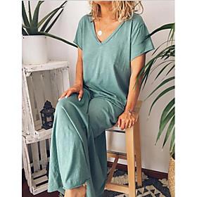 Women's Maxi Shift Dress - Short Sleeves Solid Color V Neck Loose Navy Blue Gray M L XL XXL