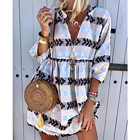 Women's Shift Dress - 3/4 Length Sleeve Print Summer V Neck Boho 2020 White Yellow Green Light Blue S M L XL XXL XXXL