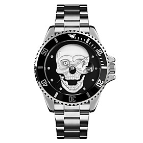 Men's Steel Band Watches Quartz Stylish Skull Water Resistant / Waterproof Analog Black Blue Red / One Year / Stainless Steel / Noctilucent