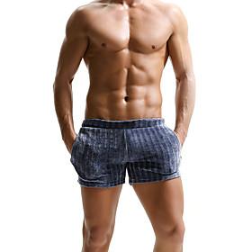 SEOBEAN Men's Sport Briefs Running Shorts Sports Underwear Briefs Running Jogging Training Breathable Quick Dry Soft Solid Colored Blue Gray / Micro-elastic