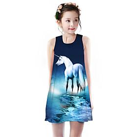 Kids Girls' Basic Cute Unicorn Galaxy Animal Cartoon Print Sleeveless Knee-length Dress Blue