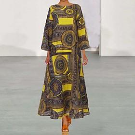 Women's Maxi Loose Dress - 3/4 Length Sleeve Print Loose Green Brown S M L XL XXL XXXL XXXXL XXXXXL