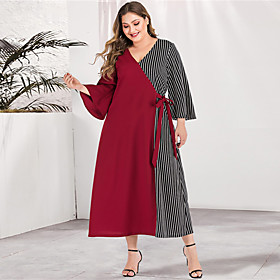 Women's A-Line Dress Maxi long Dress - Long Sleeve Striped Color Block Solid Color Patchwork Spring  Summer V Neck Plus Size Casual Elegant Going out Flare Cuf