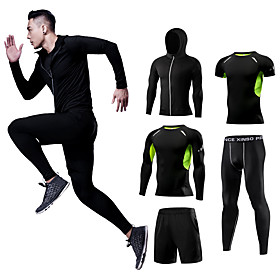 Men's Patchwork Elastane Activewear Set Workout Outfits Compression Suit 5pcs Running Walking Fitness Thermal / Warm Breathable Quick Dry Sportswear Athletic C