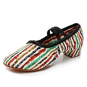 Women's Dance Shoes Latin Shoes / Modern Shoes / Ballroom Shoes Flat Splicing Cuban Heel Customizable Green / Yellow / Black / Blue / Blue / White / Performanc