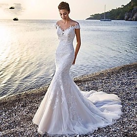 Mermaid / Trumpet Wedding Dresses Scoop Neck Court Train Organza Sleeveless Sexy Wedding Dress in Color with Appliques 2020