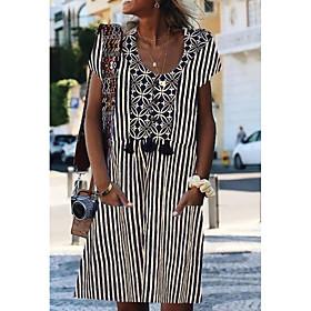 Women's Shirt Dress - Short Sleeves Print Black Blue Dusty Blue S M L XL XXL XXXL XXXXL XXXXXL