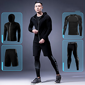 Men's Patchwork Elastane Activewear Set Workout Outfits Compression Suit 4pcs Running Active Training Fitness Thermal / Warm Breathable Quick Dry Sportswear At