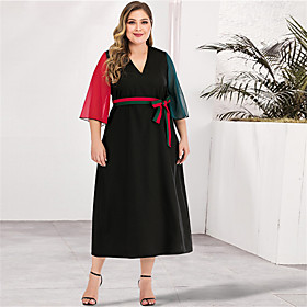 Women's A-Line Dress Maxi long Dress - Long Sleeve Color Block Solid Color Patchwork Spring  Summer V Neck Plus Size Casual Elegant Going out Loose Red L XL XX