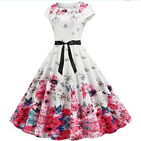 Women's White Sheath Dress - Short Sleeves Print Print Vintage Style Daily Flare Cuff Sleeve Slim Blushing Pink S M L XL XXL