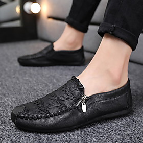 Men's Leather Spring  Summer / Fall  Winter Classic / British Loafers  Slip-Ons Walking Shoes Breathable Dark Brown / Black / Gray