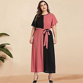 Women's A-Line Dress Maxi long Dress - Long Sleeve Black  Red Color Block Solid Color Patchwork Spring  Summer Plus Size Casual Elegant Going out Flare Cuff Sl