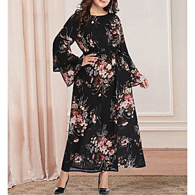 Women's A-Line Dress Maxi long Dress - Long Sleeve Floral Print Plus Size Casual Vintage Flare Cuff Sleeve Oversized Black XL XXL 3XL 4XL 5XL