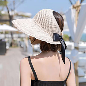 Women's Basic Cotton Polyester Straw Hat Sun Hat-Floral Print All Seasons Khaki Beige