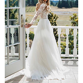 A-Line Wedding Dresses V Neck Sweep / Brush Train Polyester Long Sleeve Sexy Plus Size with Lace Embroidery 2020