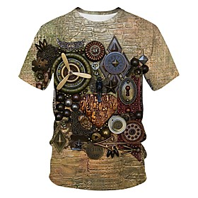 Men's 3D Graphic Print T-shirt Street chic Exaggerated Going out Club Round Neck Brown / Short Sleeve