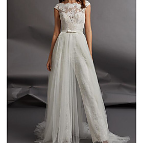 Jumpsuits Wedding Dresses Jewel Neck Floor Length Detachable Lace Tulle Cap Sleeve Country Plus Size with Sashes / Ribbons Appliques 2020