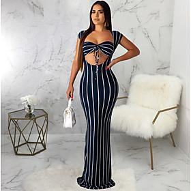 Women's Maxi Sheath Dress - Short Sleeves Striped Square Neck Wine Black Purple Navy Blue S M L XL XXL