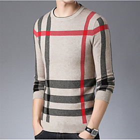 Men's Color Block Pullover Long Sleeve Sweater Cardigans Round Neck Black Khaki Navy Blue