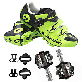 Adults' Cycling Shoes With Pedals  Cleats Mountain Bike Shoes Nylon Breathable Quick Dry Cushioning Green Men's Women's Unisex Cycling Shoes / Synthetic Microf