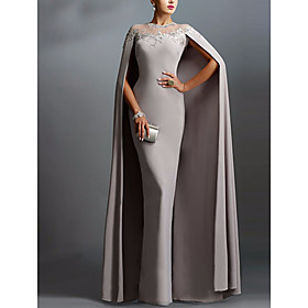 Sheath / Column Sexy Grey Wedding Guest Formal Evening Dress Illusion Neck Short Sleeve Floor Length Chiffon with Lace Insert Appliques 2020