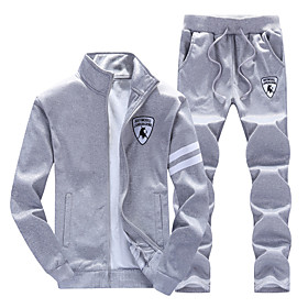 Men's 2-Piece Full Zip Tracksuit Sweatsuit Jogging Suit 2pcs Front Zipper Stand Running Active Training Fitness Thermal / Warm Breathable Moisture Wicking Spor