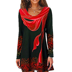 Women's T-shirt Geometric Long Sleeve Round Neck Tops Basic Top Blue Red Green