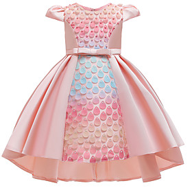 Kids Girls' Cute Butterfly Solid Colored Bow Pear Cut Short Sleeve Knee-length Dress Blushing Pink