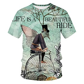 Men's 3D Graphic Print T-shirt Street chic Exaggerated Going out Club Round Neck Light Green / Short Sleeve / Letter