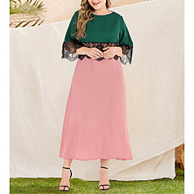 Women's A-Line Dress Maxi long Dress - Long Sleeve Black  Red Color Block Lace Patchwork Spring  Summer Fall  Winter Plus Size Casual Elegant Going out Flare C