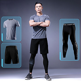 Men's Activewear Set Workout Outfits 3pcs Running Active Training Fitness Breathable Quick Dry Soft Sportswear Athletic Clothing Set Short Sleeve Activewear St