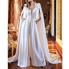 Two Piece Jumpsuits Wedding Dresses V Neck Sweep / Brush Train Polyester Sleeveless Country Plus Size with Crystals 2020
