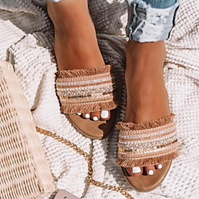 Women's Sandals Flat Sandal Summer Flat Heel Open Toe Boho Daily Beach PU Almond / Red