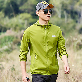 Men's Hiking Skin Jacket Hiking Jacket Summer Outdoor Patchwork Waterproof Windproof Sunscreen Breathable Jacket Top Spandex Single Slider Running Hunting Fish