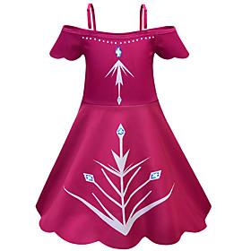 Kids Girls' Active Chinoiserie Solid Colored Halloween Sleeveless Knee-length Dress Wine