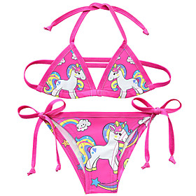 Kids Toddler Girls' Active Cute Unicorn Print Lace up Sleeveless Swimwear Purple
