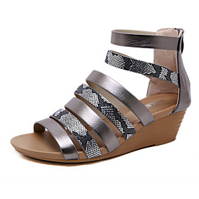 Women's Sandals Wedge Sandals Summer Wedge Heel Peep Toe Roman Shoes Daily PU Gold / Gray
