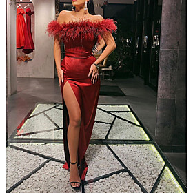 Sheath / Column Sexy Red Wedding Guest Formal Evening Dress Off Shoulder Sleeveless Sweep / Brush Train Satin with Sash / Ribbon Split 2020
