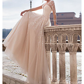 A-Line Wedding Dresses Jewel Neck Court Train Tulle Polyester Long Sleeve Country Plus Size with Embroidery Appliques 2020