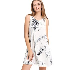 Women's Mini A Line Dress - Sleeveless Print White Blushing Pink Dusty Blue Navy Blue S M L XL XXL