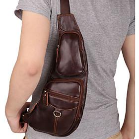 Men's Zipper Nappa Leather Sling Shoulder Bag Solid Color Brown / Fall  Winter