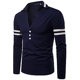 Men's Color Block Pullover Long Sleeve Sweater Cardigans V Neck White Red Navy Blue