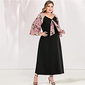 Women's A-Line Dress Maxi long Dress - Long Sleeve Floral Solid Color Tassel Fringe Patchwork Spring  Summer V Neck Plus Size Casual Cute Flare Cuff Sleeve Loo