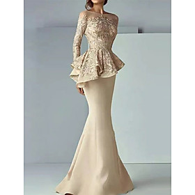 Mermaid / Trumpet Peplum Wedding Guest Formal Evening Dress Illusion Neck Long Sleeve Sweep / Brush Train Satin with Lace Insert 2020