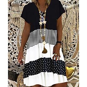 Women's Shift Dress - Short Sleeves Print V Neck Elegant Black Khaki Gray S M L XL XXL XXXL
