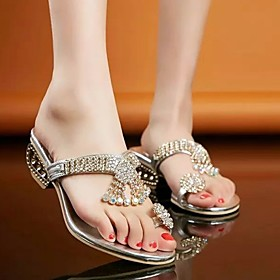 Women's Sandals Summer Low Heel Open Toe Daily PU Gold / Silver