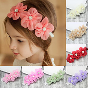Fabric Headbands Durag Kids Bowknot Elasticity For New Baby Holiday Stylish Active Orange red Lake blue Purple